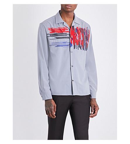 SALVATORE FERRAGAMO Scribble embroidered slim-fit cotton shirt (Slate