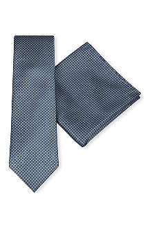 BRIONI Basketweave silk tie and pocket square set