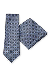 BRIONI Micro-tile silk tie and pocket square set