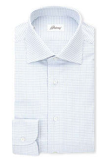 BRIONI Micro-square print single-cuff shirt