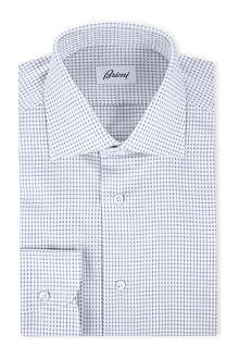BRIONI Micro-check print single cuff shirt