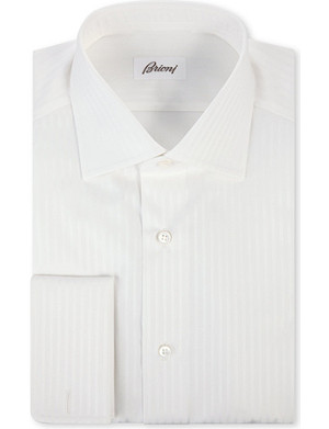 BRIONI Ribbon stripe double-cuff shirt