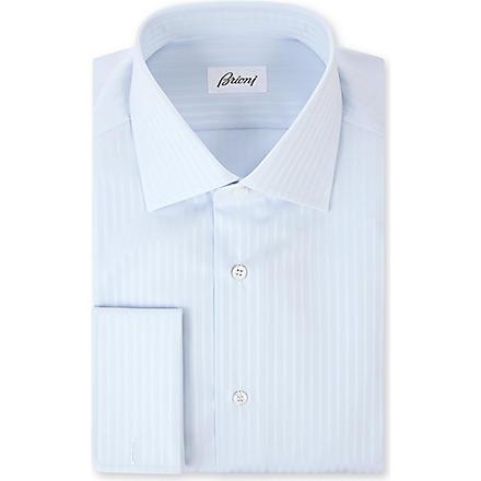 BRIONI Ribbon stripe single cuff shirt (Sky