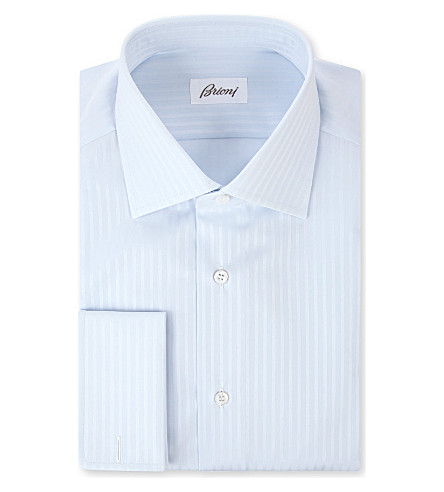 BRIONI Ribbon stripe double-cuff shirt (Sky