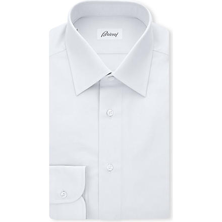 BRIONI Clark single-cuff cotton shirt (Silver