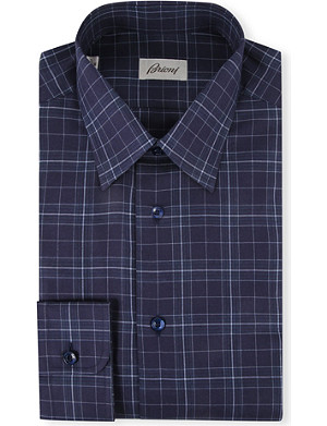 BRIONI Slim-fit cotton checked shirt