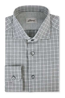 BRIONI Picnic check regular-fit single cuff shirt