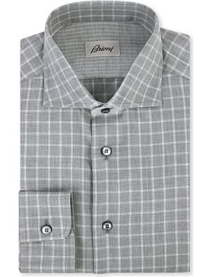 BRIONI Picnic check regular-fit single cuff shirt