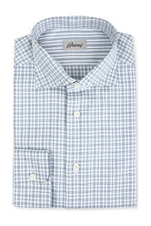 BRIONI Checked regular-fit single-cuff shirt