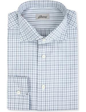 BRIONI Checked regular-fit single-cuff shirt