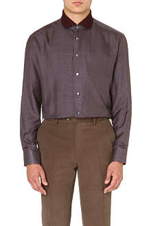 BRIONI Knit-collar cotton shirt
