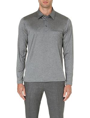BRIONI Embroidered-pocket cotton polo shirt