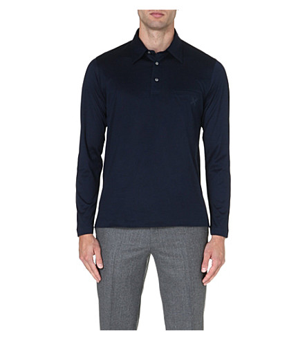 BRIONI Embroidered-pocket cotton polo shirt (Navy