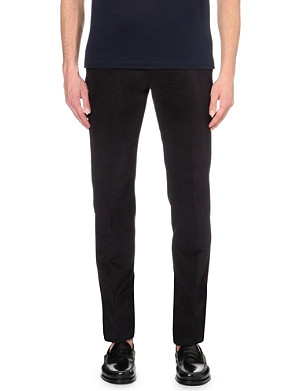 BRIONI Leather piping slim-fit straight cotton-twill trousers