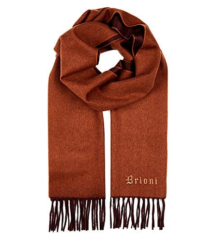 BRIONI Logo-embroidered cashmere scarf (Brown