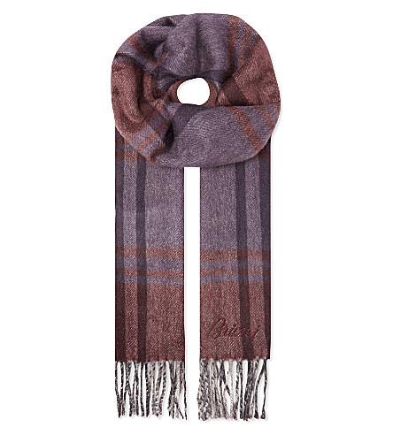 BRIONI Stripe cashmere scarf (Red