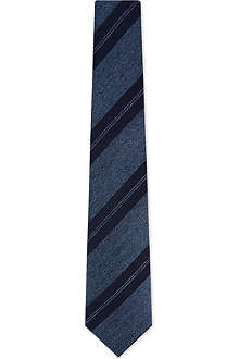 BRIONI Jacquard herringbone striped silk tie