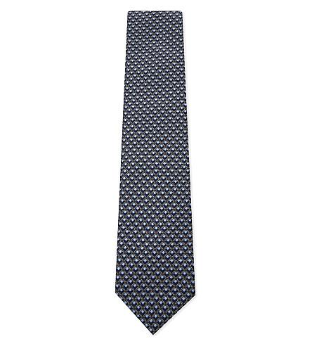 BRIONI Tonal cube silk tie (Blue