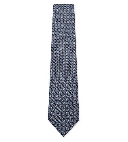 BRIONI Geometric tile silk tie (Blue