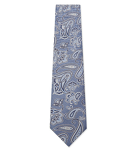 BRIONI Paisley silk tie (Light+blue
