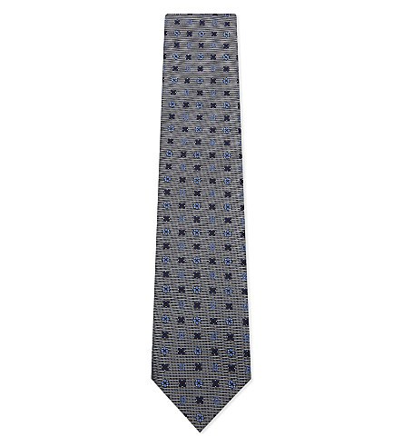 BRIONI Logo and floral silk tie (Grey