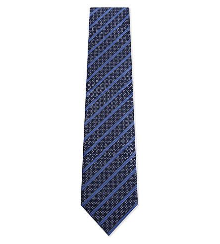 BRIONI Diagonal stripes & diamonds silk tie (Aqua/bluette