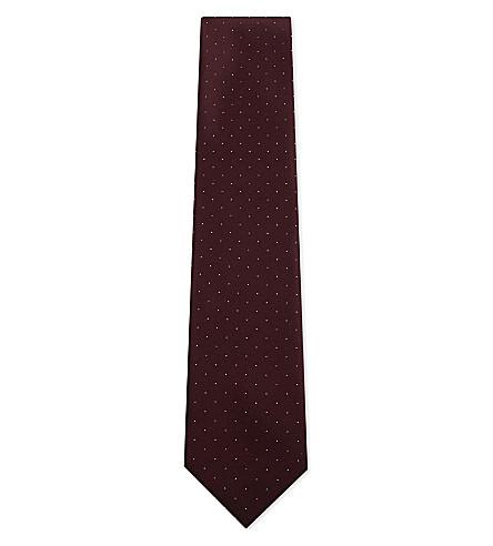 BRIONI Spotted silk-cotton tie (Bordeaux