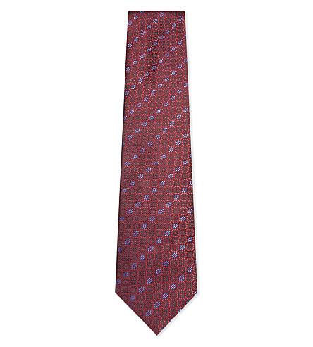 BRIONI Gauze flower silk tie (Brioni+red/bluette