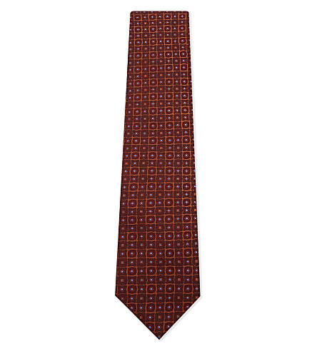 BRIONI Grid dot silk tie (Bordeaux/orange