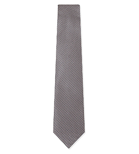 BRIONI Chain-print silk tie (Grey