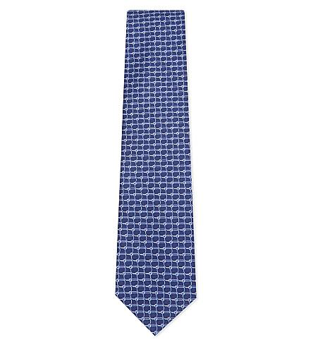 BRIONI Interlocking circle silk tie (Blue