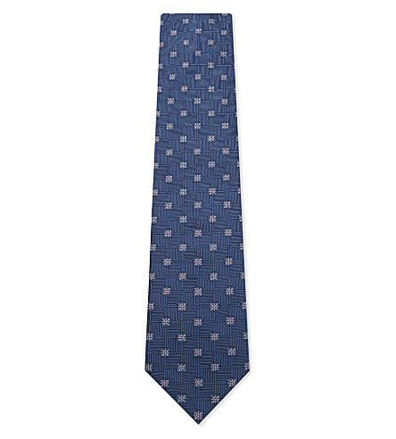 BRIONI Checked floral silk tie (Blue