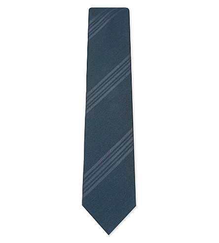 BRIONI Diagonal stripe wool & silk tie (Dark+green+bottle