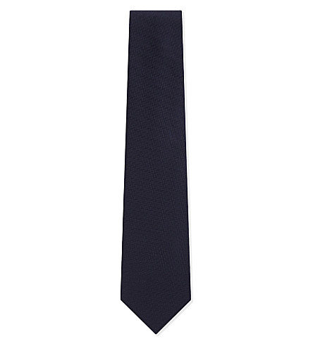 BRIONI Herringbone stitch silk tie (Blue