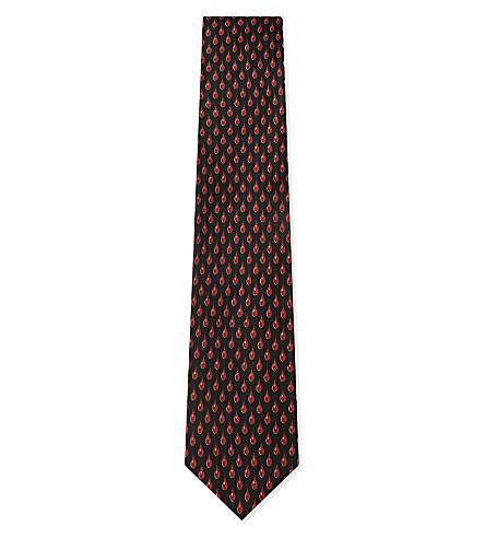 BRIONI Teardrops silk tie (Black