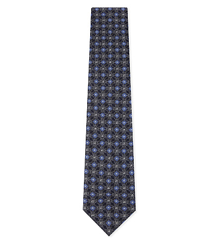 BRIONI Floral print silk tie (Black