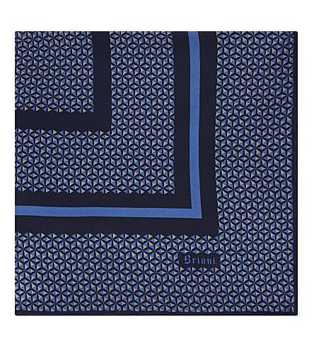 BRIONI Triangle-print silk pocket square (Blue