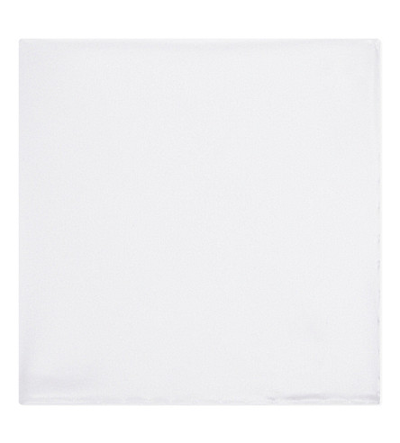 BRIONI Satin pocket square (White