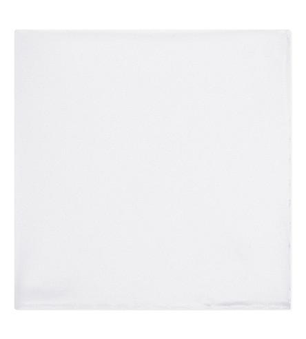 BRIONI Satin pocket square (White