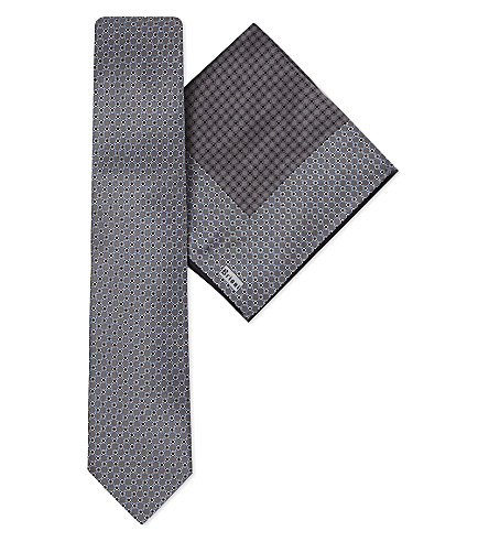 BRIONI Circle print silk tie & pocket square (Grey