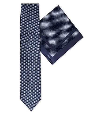 BRIONI Diamonds silk tie & pocket square (Navy