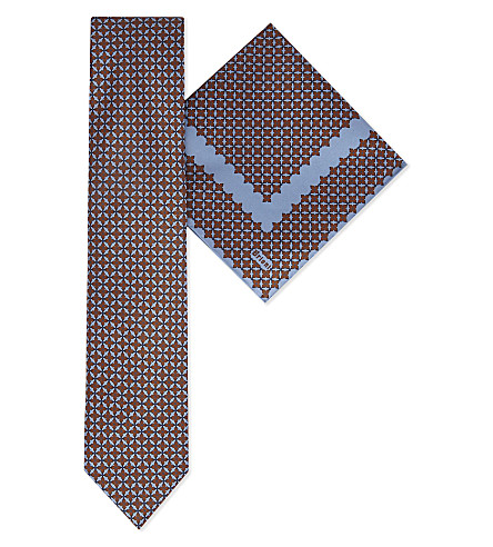 BRIONI Floral print silk tie & pocket square (Burgundy