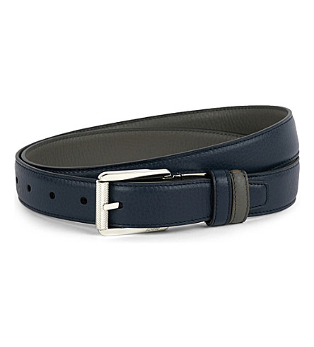 BRIONI Reversible leather belt (Navy/taupe