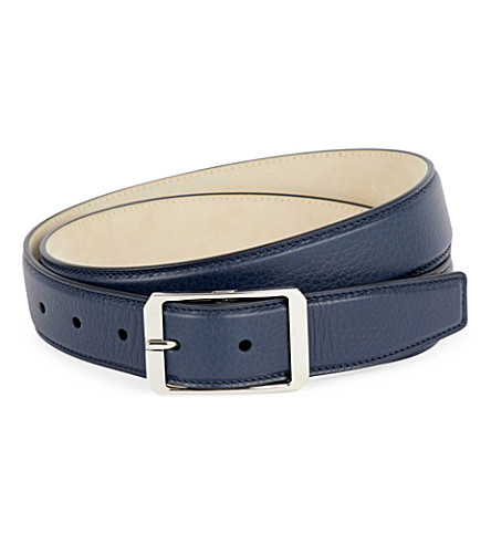 BRIONI Pebbled leather belt (Navy/navy
