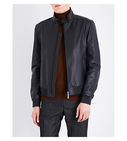 BRIONI Stand-collar leather bomber jacket (Midnight+blue