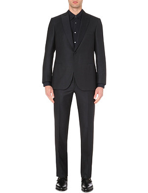 BRIONI Micro square-patterned wool and silk-blend suit