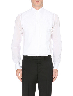 BRIONI Plissé double-cuff tuxedo shirt