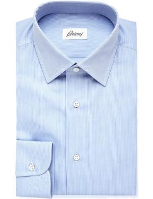BRIONI Striped slim-fit cotton shirt