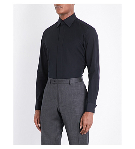 BRIONI Honeycomb regular-fit cotton shirt (Black