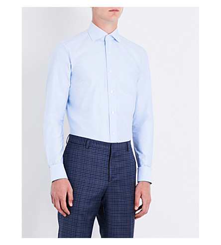 BRIONI Slim-fit cotton-twill shirt (Blue